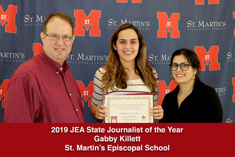 Gabriella Killett was named the Louisiana State JEA Journalist of the Year.